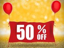 50% с знамени на красной ткани Стоковые Фотографии RF