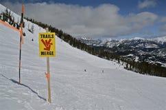 Сливать следы лыжи на наклонах горы стоковые фотографии rf