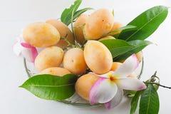 Слива Мэриан Maprang или манго сливы на блюде изолировали белое backgro Стоковая Фотография RF