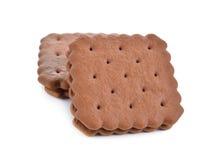 Сливк сандвича слойки приправленная шоколадом на белизне Стоковые Фото