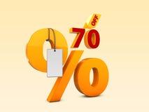 70 с иллюстрации продажи 3d специального предложения Символ цены предложения скидки Стоковая Фотография