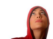 с капюшоном красная женщина Стоковые Фото