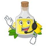 С наушниками масло лимона полило внутри стекло мультфильма иллюстрация вектора