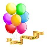 С днем рождения воздушные шары Стоковое Изображение