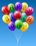 С днем рождения воздушные шары Стоковая Фотография RF