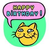С днем рождения! Голова кота шаржа речи персоны пузыря вектор графической говоря также вектор иллюстрации притяжки corel Стоковое Фото