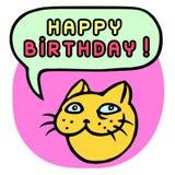 С днем рождения! Голова кота шаржа речи персоны пузыря вектор графической говоря также вектор иллюстрации притяжки corel Стоковые Изображения