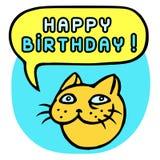 С днем рождения! Голова кота шаржа речи персоны пузыря вектор графической говоря также вектор иллюстрации притяжки corel Стоковые Изображения RF