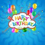 С днем рождения голубая предпосылка Бесплатная Иллюстрация