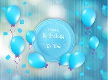 С днем рождения значок с воздушными шарами иллюстрация штока
