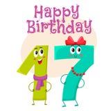 С днем рождения дизайн поздравительной открытки вектора с 17 характерами номера Стоковое фото RF