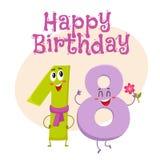 С днем рождения дизайн поздравительной открытки вектора с 18 характерами номера Стоковое Изображение