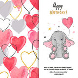 С днем рождения дизайн поздравительной открытки с милым слоном и сердцем раздувает Стоковое Изображение