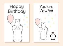 С днем рождения и карточка приглашения с полярным медведем и пингвином иллюстрация вектора