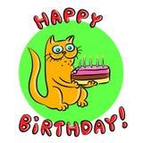 С днем рождения иллюстрация вектора кота Стоковое Изображение