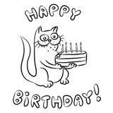 С днем рождения иллюстрация вектора кота Стоковая Фотография RF