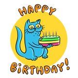С днем рождения иллюстрация голубого кота Стоковое Изображение
