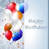 С днем рождения иллюстрация с воздушными шарами на предпосылке иллюстрация штока