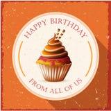 С днем рождения карточка шаблона с тортом и текстом Стоковые Изображения RF