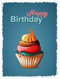 С днем рождения карточка шаблона с тортом и текстом Стоковые Изображения