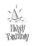 С днем рождения комплект вектора элементов партии Рука нарисованная вечеринки по случаю дня рождения Стоковые Изображения