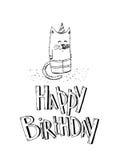 С днем рождения комплект вектора элементов партии Рука нарисованная вечеринки по случаю дня рождения Стоковое фото RF