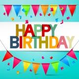 С днем рождения овсянка карточки ретро вектора красочная с флагами иллюстрация штока