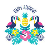 С днем рождения пинк ананаса toucans поздравительной открытки Стоковое Изображение
