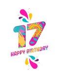 С днем рождения поздравительная открытка отрезка бумаги 17 год Стоковая Фотография RF