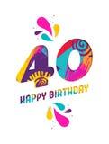 С днем рождения поздравительная открытка отрезка бумаги 40 год бесплатная иллюстрация