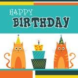С днем рождения поздравительная открытка с котами Стоковое Изображение RF