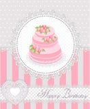С днем рождения поздравительная открытка с тортом и шнурком также вектор иллюстрации притяжки corel Стоковая Фотография