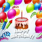 С днем рождения поздравительная открытка с тортом и Стоковые Изображения RF