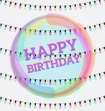 С днем рождения, поздравительные открытки, иллюстрация вектора Invit партии Стоковые Фотографии RF