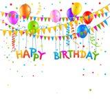 С днем рождения предпосылка с воздушными шарами Бесплатная Иллюстрация