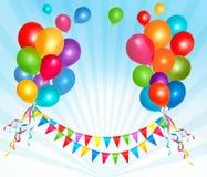 С днем рождения предпосылка с цветастыми воздушными шарами Стоковая Фотография RF