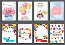 С днем рождения, приветствие праздника и комплект шаблона карточки приглашения с воздушными шарами и флагами также вектор иллюстр Стоковое Фото