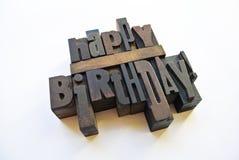 С днем рождения сообщение с letterpress Стоковое Изображение
