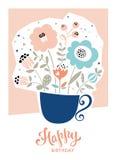 С днем рождения флористическая карточка Стоковые Изображения