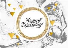 С днем рождения черная мраморная карточка текстуры Шаблон знамени Shimmer золотой на белой предпосылке Золото иллюстрации вектора Стоковая Фотография RF