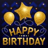 С днем рождения шаблон плаката с различными форменными воздушными шарами g Стоковое Изображение RF