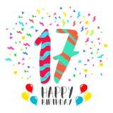 С днем рождения для карточки приглашения партии 17 год Стоковое Фото