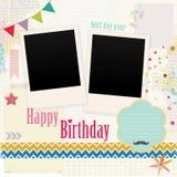 С днем рождения Scrapbook фото Стоковое фото RF