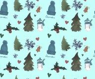 С Новым Годом! безшовная картина, тема зимы рождества, красивая предпосылка акварели бесплатная иллюстрация