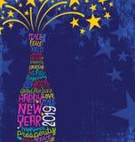 С Новым Годом! бутылка 2019 шампанского с воодушевлять рукописные слова, разрывая звезды иллюстрация штока