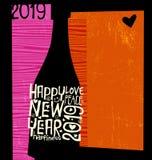 С Новым Годом! бутылка 2019 шампанского с воодушевлять рукописные слова иллюстрация вектора
