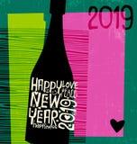 С Новым Годом! бутылка 2019 шампанского с воодушевлять рукописные слова бесплатная иллюстрация