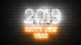 С Новым Годом! 2019 в неоне иллюстрация штока
