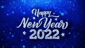 С Новым Годом! 2022 голубых приветствия частиц желаний текста, приглашение, предпосылка торжества