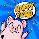 С Новым Годом! знамя с милым облаком свиньи и текста на голубой предпосылке карточка 2007 приветствуя счастливое Новый Год иллюстрация штока